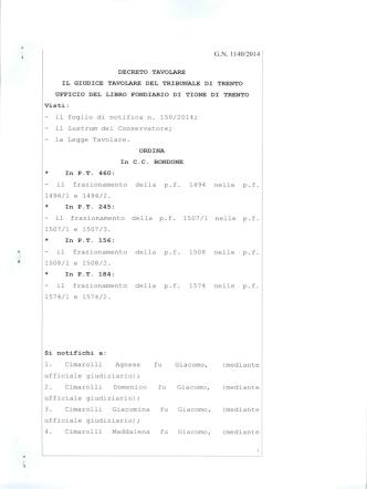 Decreto tavolare G.N. 1140-2014