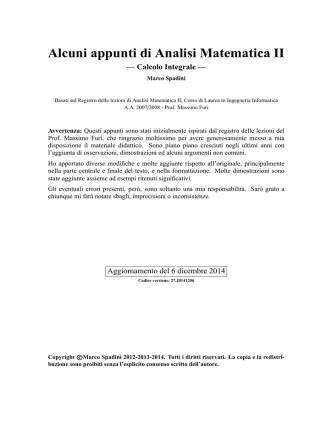 Alcuni appunti di Analisi Matematica II