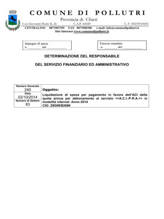 83-2014 Canone abbonamento Banca dati ACI