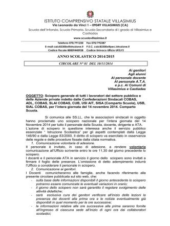 circ. n° 81 sciopero del 14 nov. 2014
