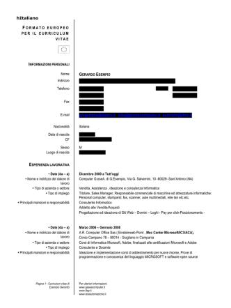 Curriculum Esempio - Gazzetta Amministrativa