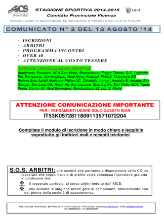 comunicato n. 2 del 13/08/2014