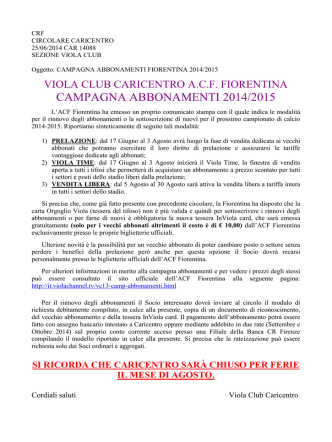 abbonamenti acf fiorentina 2014/2015