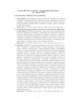 Controllo Non Lineare - Programma del Corso a.a. 2013/2014