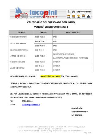 CALENDARIO DEL CORSO ADR CON INIZIO VENERDÌ 28