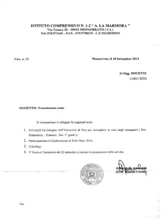 Circ. n. 11 trasmissione nota - Istituto Comprensivo Monserrato 1-2