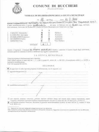 Delibera Giunta - Comune of Buccheri