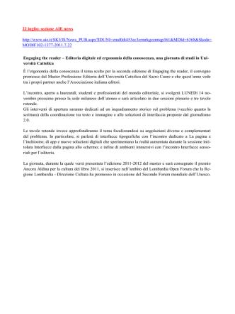 22 luglio: sezione AIE news http://www.aie.it/SKVIS/News_PUB.aspx