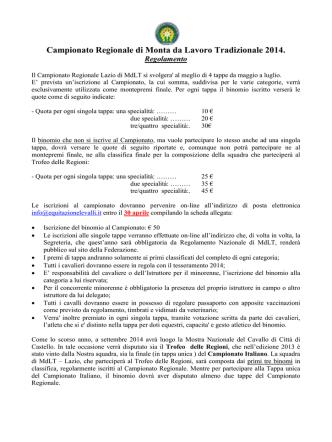 Campionato Regionale di Monta da Lavoro Tradizionale 2014.