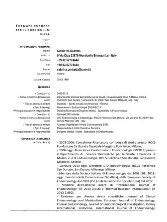 Curriculum Vitae Formato Europeo Italiano maggio 2014 Dott.ssa