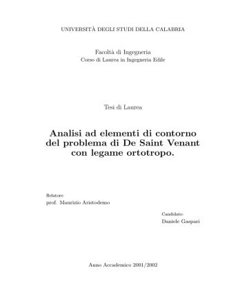 Analisi ad elementi di contorno del problema di De Saint