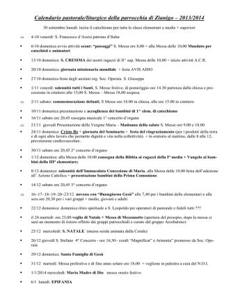 Calendario pastorale/liturgico della parrocchia di Zianigo – 2013/2014