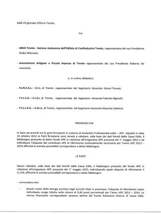 accordo - Cassa Edile Trento