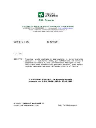 DECRETO n. 343 del 12/06/2014