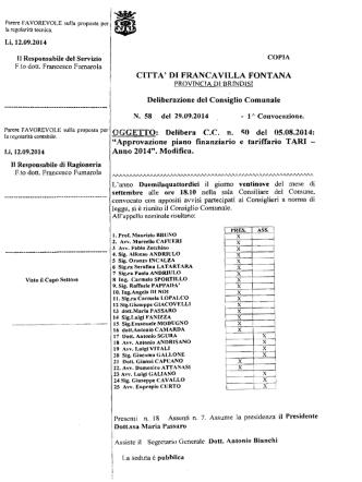 Delibera - Comune di Francavilla Fontana
