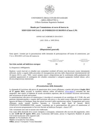 Bando Servizio sociale a indirizzo europeo L39 a.a. 2014