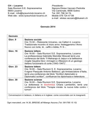 CH – Locarno Sala Riunioni S.E. Sopracenerina 6600 Locarno E