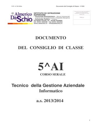 5^AI serale - Istituto Almerico Da Schio