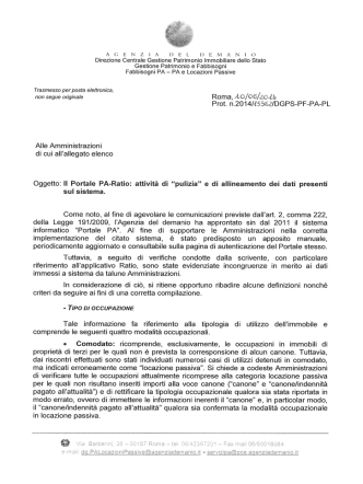Circolare prot. n, 15962 del 10/06/2014 Portale PA – Ratio: attività di