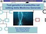 Test genetici e trombofilia nel setting della Medicina Generale