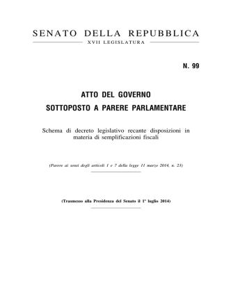 A.G.99 Schema di decreto legislativo recante disposizioni in materia