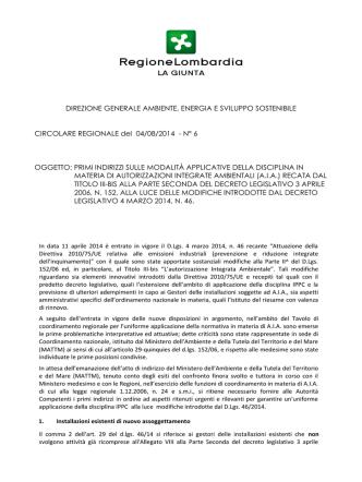 Circolare Regionale del 04/08/2014
