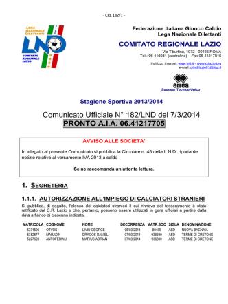 Comunicato Ufficiale N° 182/LND del 7/3/2014 PRONTO A.I.A.
