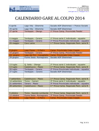 CALENDARIO GARE AL COLPO 2014