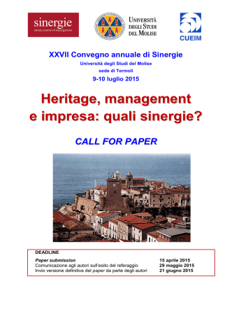 Call for paper - Sinergie Journal