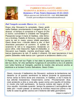 Avviso 2015.01.25 - Parrocchia Madonna di Rosa