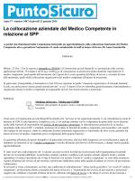 La collocazione aziendale del Medico Competente in
