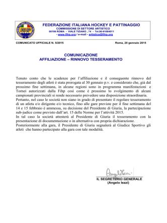 Comunicato CU05-2015 - FIHP Comitato Regionale Lombardia