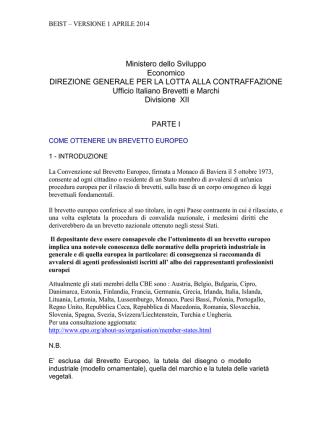 BEIST: VERSIONE 1 APRILE 2008 - Ufficio Italiano Brevetti e Marchi