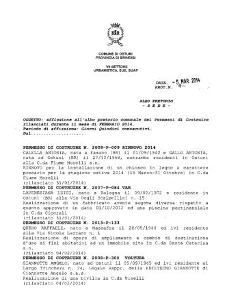 - 5 M~R. 2014 - Comune di Ostuni