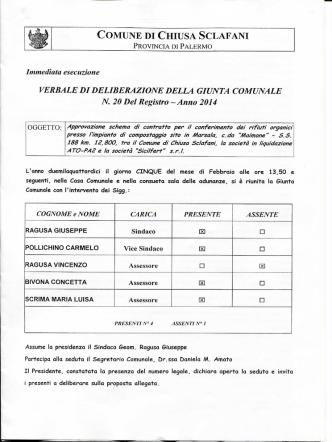 Approvazione schema di contratto per il conferimento dei rifiuti