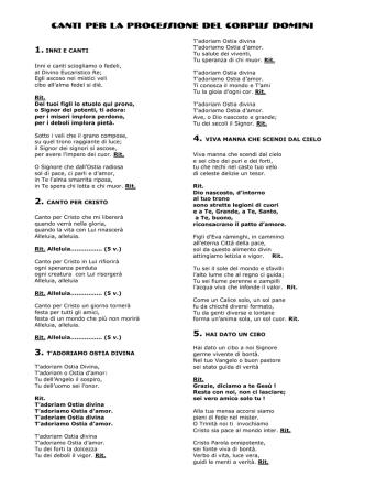 Canti per la processione del Corpus Domini