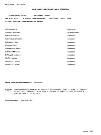 Delibera di GR n. 1722 del 27/10/2014