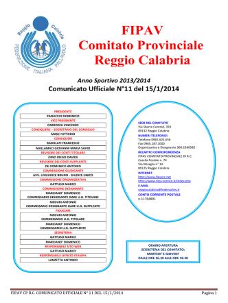 Comunicato n. 11 del 15.1.2014