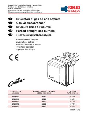 Bruciatori di gas ad aria soffiata Gas