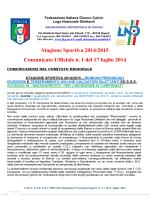 Stagione Sportiva 2014/2015 Comunicato Ufficiale