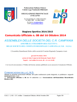 Stagione Sportiva 2014/2015 Comunicato Ufficiale n