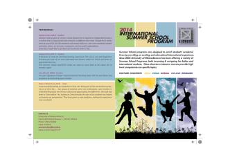 2014 INTERNATIONAL SUMMER SCHOOL PROGRAM