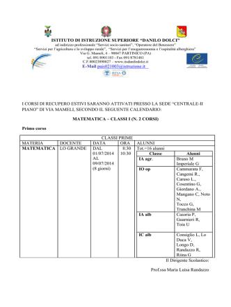 Calendario corsi di recupero - IISS Danilo Dolci di Partinico