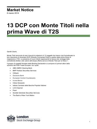 13 DCP con Monte Titoli nella prima Wave di T2S