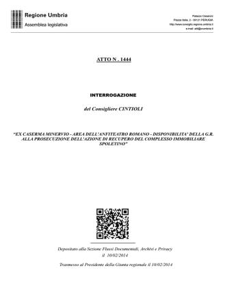 ATTO N . 1444 del Consigliere CINTIOLI