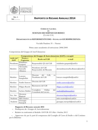 AVA SSG 2014 definitivo - Corso di Laurea Triennale in Scienze dei