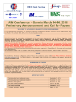 Preliminary Announcement and Call for Papers