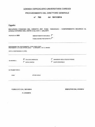 (rif. fasc. 1545/aouc) - conferimento incarico al legale interno dell