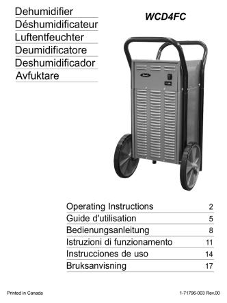 Dehumidifier Déshumidificateur Luftentfeuchter Deumidificatore