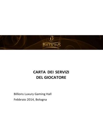 carta dei servizi del giocatore